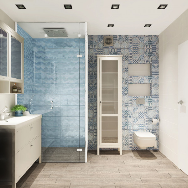 Bathroom, Rustic Apartment Turquoise