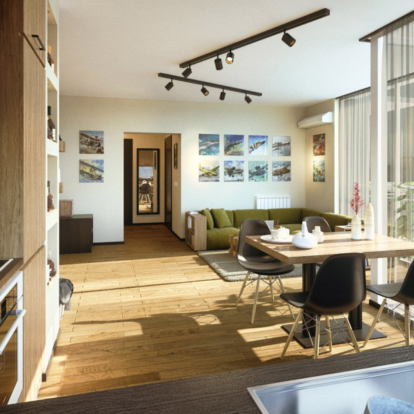 Living room, Bachelor Apartment